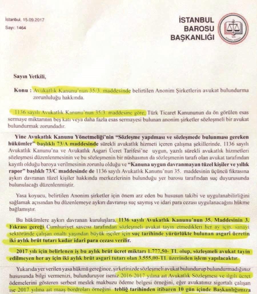 İstanbul Baro zorunlu avukat yazı örnek